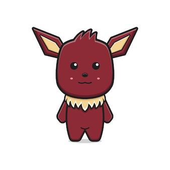 Niedliche monster-maskottchen-charakter-cartoon-symbol-vektor-illustration. entwurf getrennt auf weiß. flacher cartoon-stil.