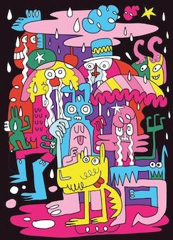 Niedliche monster spielen zum spaß im regen. illustration, süße handgezeichnete kritzeleien,