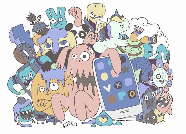 Niedliche monstergruppe, set von lustigen niedlichen monstern, aliens oder fantasietieren für grußkarten oder t-shirts. hand gezeichnete linie kunstkarikatur-vektorillustration