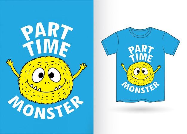 Niedliche monsterkarikatur für t-shirt