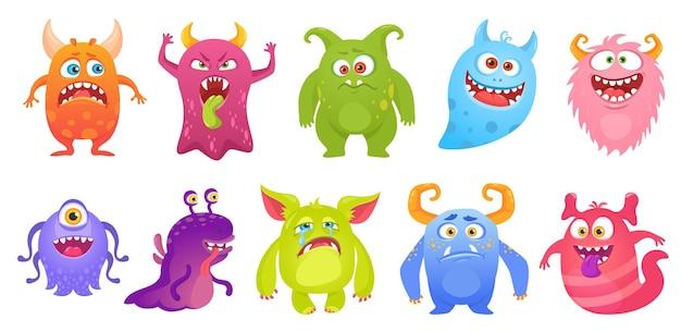 Niedliche monstervektorfiguren, die lustige außerirdische kreaturen cartoon-koboldgeist mit dummen gesichtern lächeln