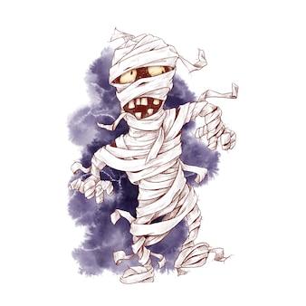 Niedliche mumiencharakteraquarellillustration für halloween