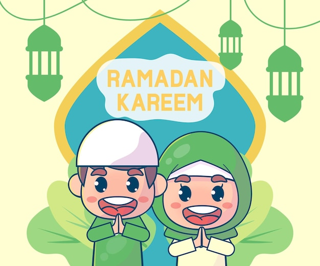Niedliche muslimische jungen und mädchen, die ramadan kareem islamic begrüßen