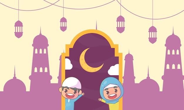 Niedliche muslimische jungen und mädchen, die ramadan kareem islamic grüßen.