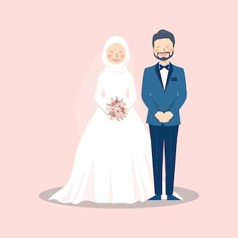 Niedliche muslimische paar-porträt-illustration, die in der pose auf rosa steht
