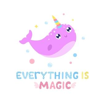 Niedliche narwal- und magische artikelillustration. alles ist magische karte, drucken