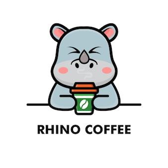 Niedliche nashorn trinken kaffeetasse cartoon tier logo kaffee illustration