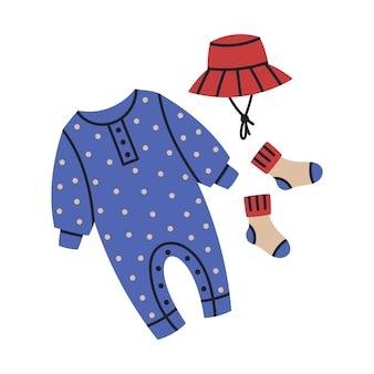 Niedliche neugeborene babyausstattung cartoon kinder mädchen oder jungen kleidung vektor kindergarten illustration