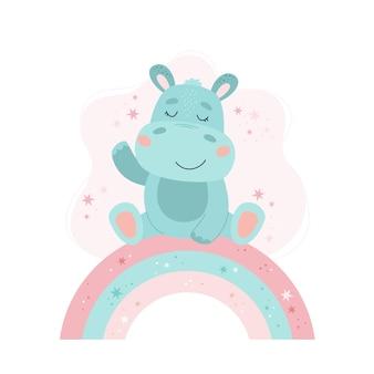 Niedliche nilpferd-baby-tierkonzeptillustration für kinderzimmer, charakter für kinder
