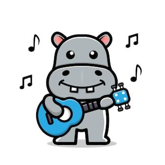 Niedliche nilpferd spielen gitarre cartoon-vektor-illustration