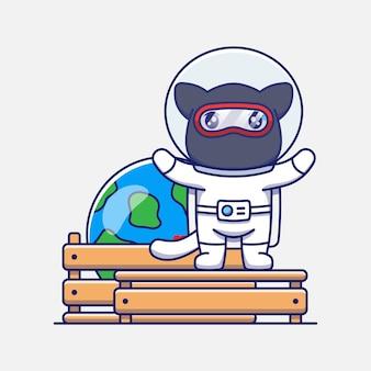 Niedliche ninja-katze im astronautenanzug mit planetenerde-modell