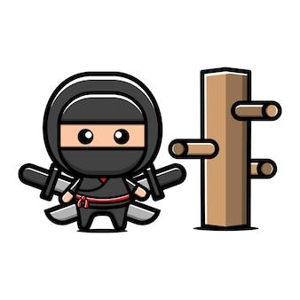 Niedliche ninja schwerter zeichentrickfigur