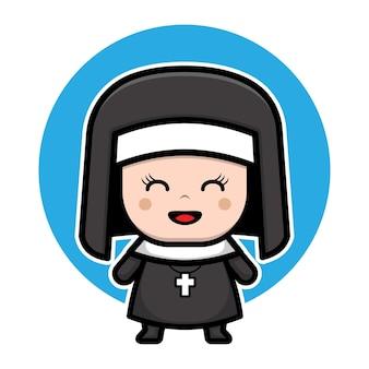Niedliche nonne zeichentrickfigur
