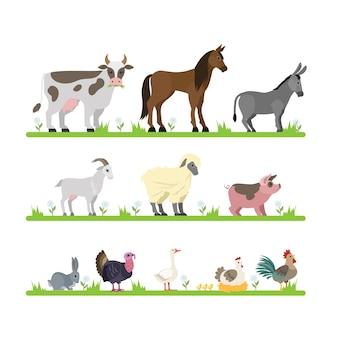 Niedliche nutztiere eingestellt. ziege, kuh, schiff und andere tierfiguren stehen im gras. hausvögel wie henne und gans. illustration