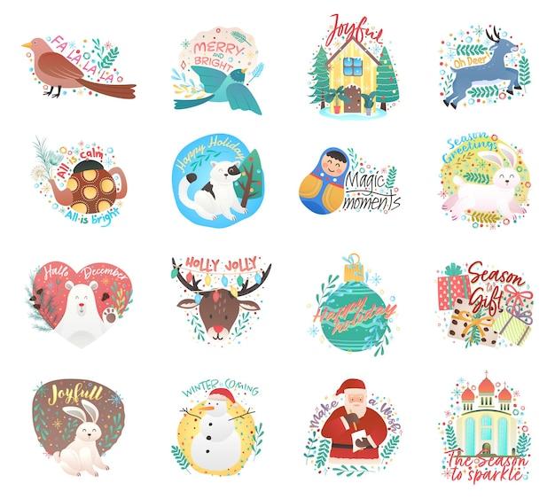Niedliche ornamente weihnachtszeit cartoon illustration grußkarten vorlage hintergründe große sammlung mit hirsch kaninchen hirsch und schneeflocken und weihnachten elemente gesetzt