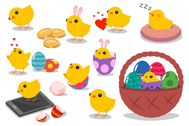 Niedliche osterkükencharaktere. vektorkarikatursatz des lustigen feiertagshuhns mit eiern, korb und hasenohren lokalisiert.