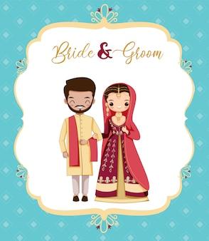 Niedliche pakistan-braut- und bräutigamkarikatur