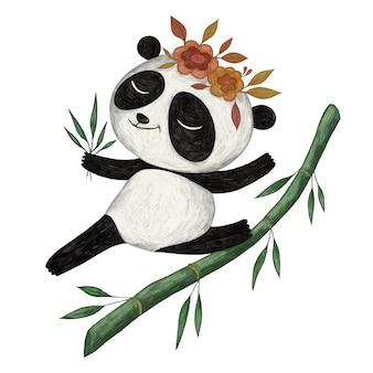 Niedliche panda bleistiftfarbillustration