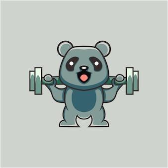 Niedliche panda-illustration, die gewichte im cartoon-stil hebt
