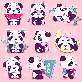 Niedliche panda kawaii cartoon-vektor-zeichen festgelegt