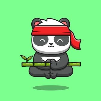 Niedliche panda kung fu meditation meditation, die bambus-karikatur hält. tier-natur-symbol-konzept isoliert. flacher cartoon-stil