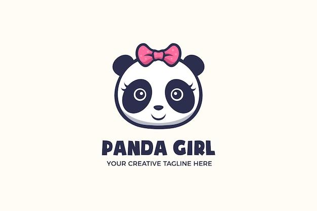 Niedliche panda-mädchen-maskottchen-charakter-logo-vorlage