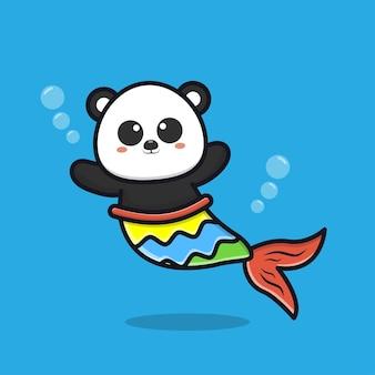 Niedliche panda-meerjungfrau-cartoon-illustration