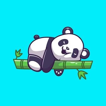 Niedliche panda schlafende bambusikonenillustration. panda maskottchen zeichentrickfigur. tierikon-konzept isoliert