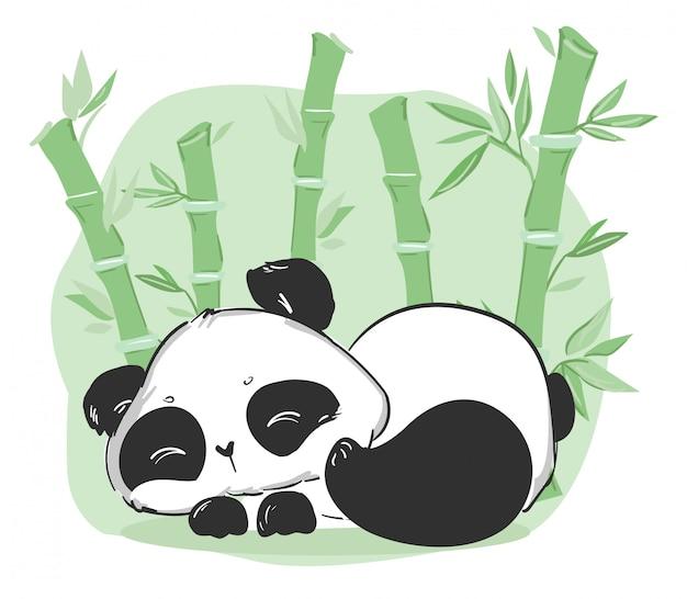 Niedliche panda und bambusillustration. zeichentrickfigur.