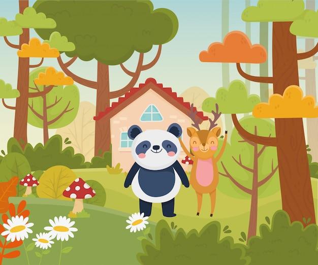 Niedliche panda- und hirschhausbäume blühen naturvektorillustration