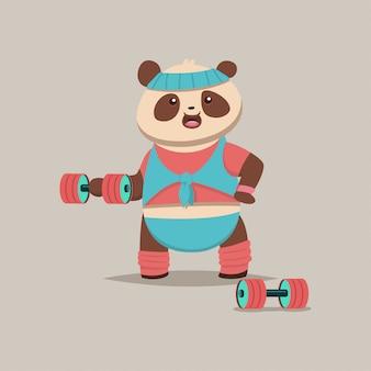 Niedliche panda-zeichentrickfilm-figur, die übungen mit dummköpfen auf dem bizeps tut