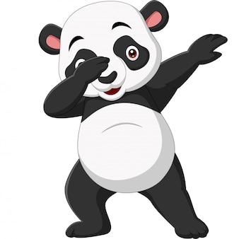 Niedliche pandakarikatur in der betupfenden haltung