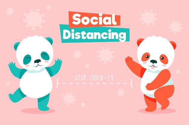 Niedliche pandas, die soziale distanzierung praktizieren