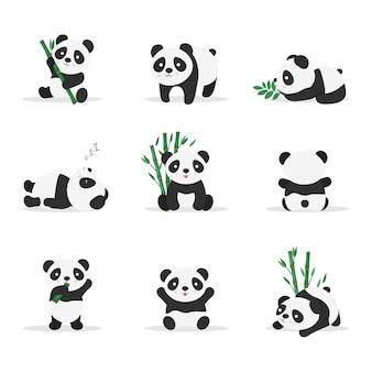 Niedliche pandas in verschiedenen positionen flache farbabbildungen gesetzt