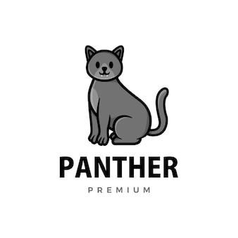 Niedliche pantherkarikaturlogoikonenillustration