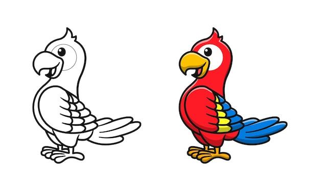 Niedliche papageien-cartoon-malvorlagen für kinder