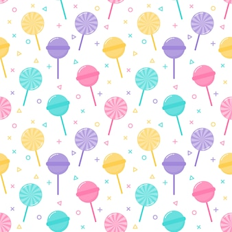Niedliche pastell candy süßspeisen nahtlose muster