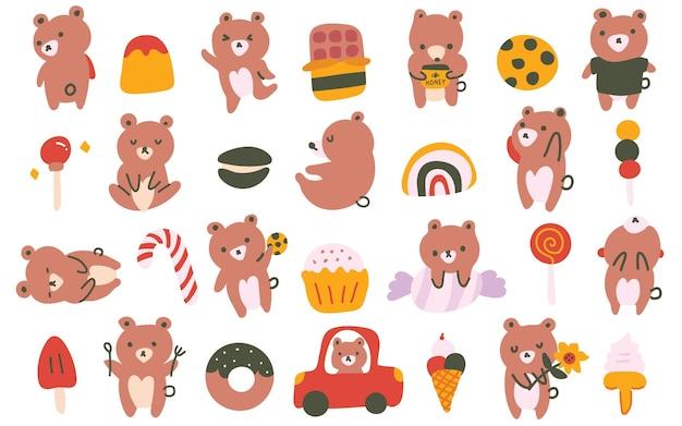 Niedliche pastellfarben im skandinavischen stil bärenjunges süßigkeiten gekritzel handgezeichnete illustration