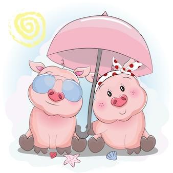 Niedliche piggy paar mit sonnenschirm und sonnenbrille am strand
