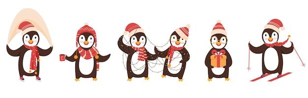 Niedliche pinguin-charaktere, die wollmütze und schal in verschiedenen posen tragen.