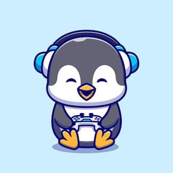 Niedliche pinguin-spielkarikatur-illustration.