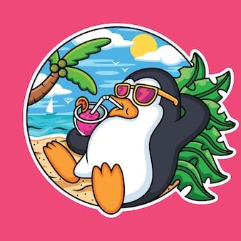 Niedliche pinguine entspannen am strand