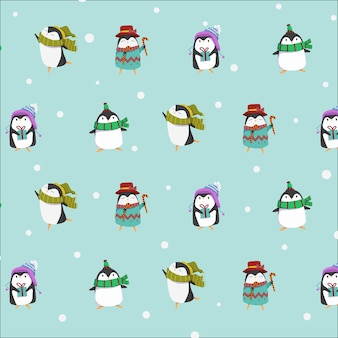 Niedliche pinguinwintercharakter-sammlung