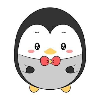 Niedliche pinguinzeichnung mit roter schleife für weihnachtswintersaison