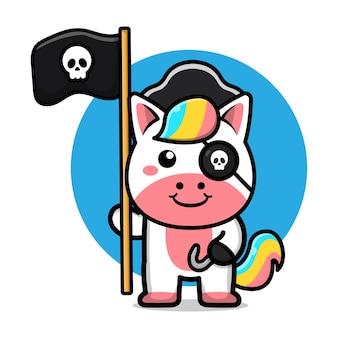 Niedliche piraten-einhorn-cartoon-illustration