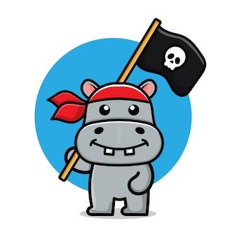 Niedliche piraten-flusspferd-cartoon-illustration
