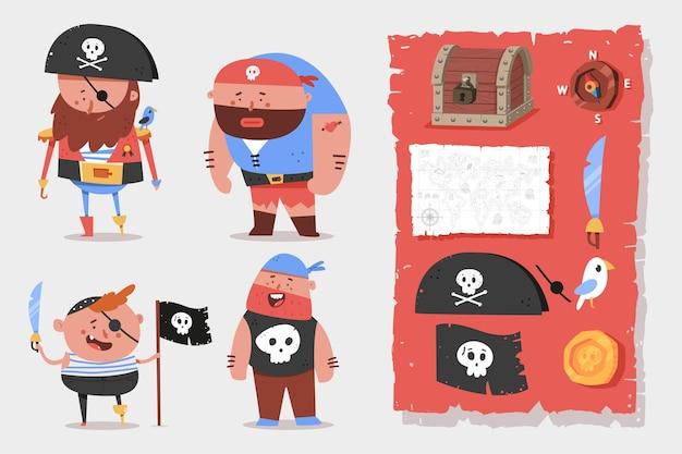 Niedliche piratencharaktere und -elemente-karikaturensatz isoliert.
