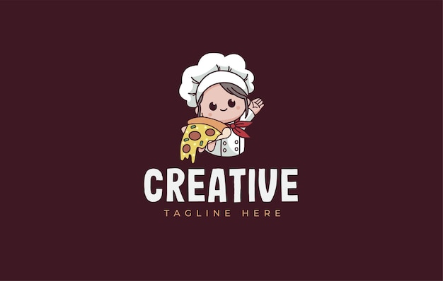 Niedliche pizzabäcker-logo-design-vorlage