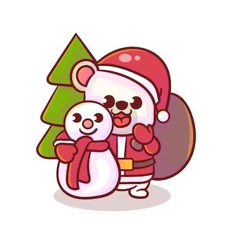 Niedliche polare weihnachten, kawaii stil
