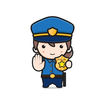 Niedliche polizei zeigt identität cartoon-symbol abbildung. entwerfen sie isolierten flachen cartoon-stil